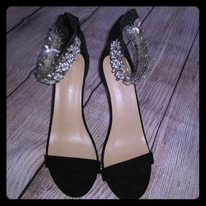 Jeweled black sandals
